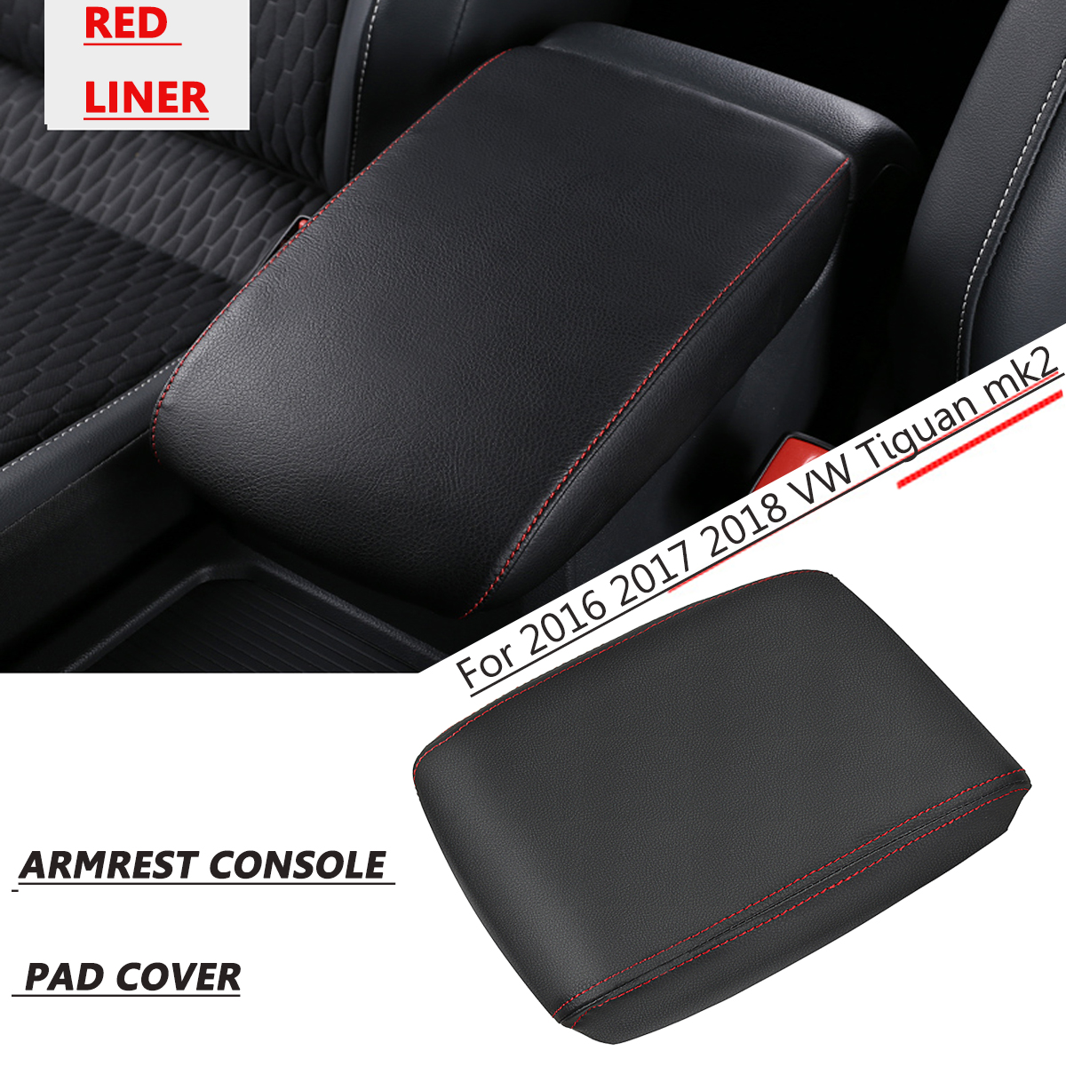 Console Central do carro Caixa de apoio de Braço Do Assento Almofadas Capa PU de Couro para Volkswagen/VW Tiguan MK2 2016 2017 2018 Carro acessórios interiores
