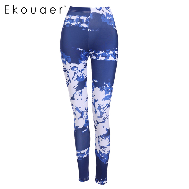 Ekouaer Fashion Women leggings High Waisted Print Stretch Trousers Casual Skinny pant legging for Women Wholelsales