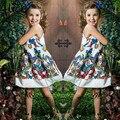 2015 Meninas Novas do Verão Vestido de Princesa Crianças Marca de Moda Meninas Hot Saling Bebê Kids Clothing Set vestidos de Festa Borboleta