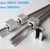 2pcs SBR20 20mm L 1500mm support guide linear rail + 4pcs SBR20UU linear blocks CNC parts linear guide