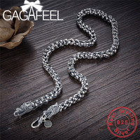 GAGAFEEL Dragonscale 925 Sterling Silver Necklaces Men Big Statment 100% S925 Solid Silver Chain Necklaces Dragon Head Jewelries