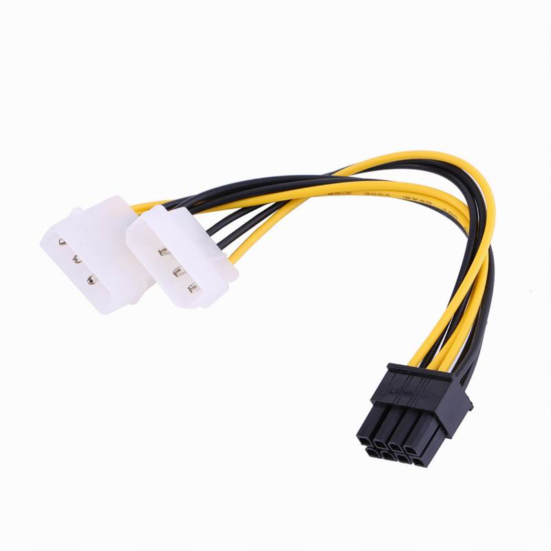 5 inch 16cm 8 Pin PCI Express Male To Dual LP4 4Pin Molex IDE Power Cable Adapter
