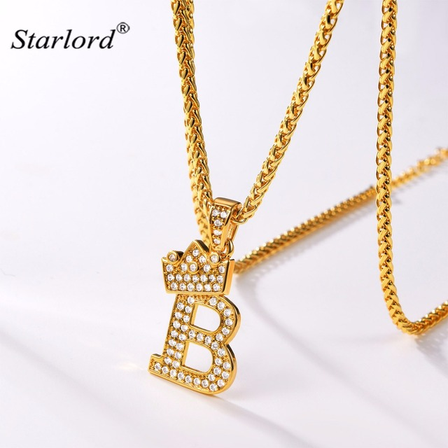 crown letter b necklace initial necklace 26 alphabet jewelry personalized gift cubic zirconia letter charm for