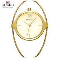 WEIQIN Quartz Women S Watches Simple Dial Steel Wire Watch Band Hardlex Bracelet Clasp Waterproof Casual