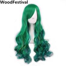 우드 페스티벌 레이디 합성 가발 Bangs 물결 모양의 녹색 보라색 핑크 레드 할로윈 컬러 긴 머리 가발 여성을위한 내열성