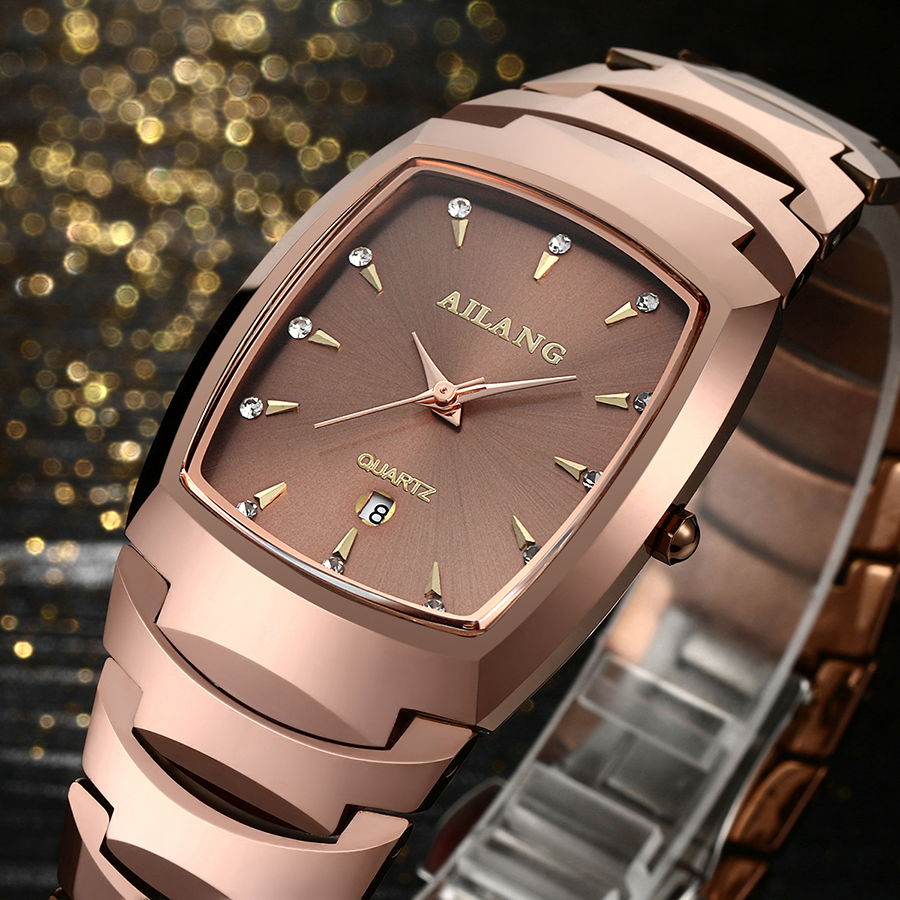 Classic Fashion Couples Tungsten Steel Bracelet Watches AILANG Business Lovers Calendar Wrist Watch Quartz Analog Relojes NW8008