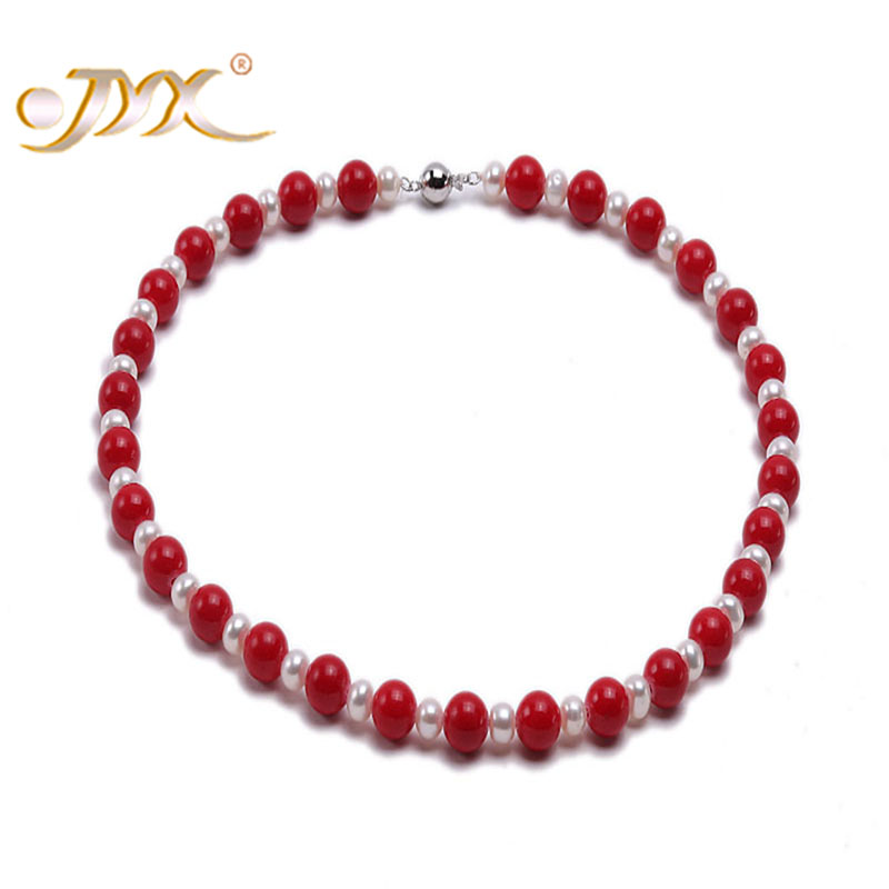 JYX High Quality 10 0mm Red Sea Real Coral Necklace with White Pearl Necklace
