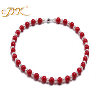 JYX High Quality 10.0mm Red Sea Real Coral Necklace with White Pearl Necklace
