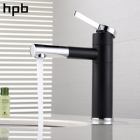 HPB Brass Chrome 360 Degree Rotation Basin Faucet White Black Washbasin Bathroom Mixer Water Tap Hot