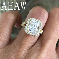 4.5ctw Center 10x8mm Radiant Cut Moissanite Engagement Ring Real 14K Yellow Gold Diamond Fine Jewelry For Women