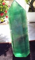 Natural green magic stick fluorite pendulum support custom cut raw stone grinding