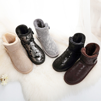 SWYIVY Buckle Ankle Snow Boots Fur 2018 Genuine Leather Female Winter Warm Shoes Snowboots Flat Comfortable Snow Boots 40 Size