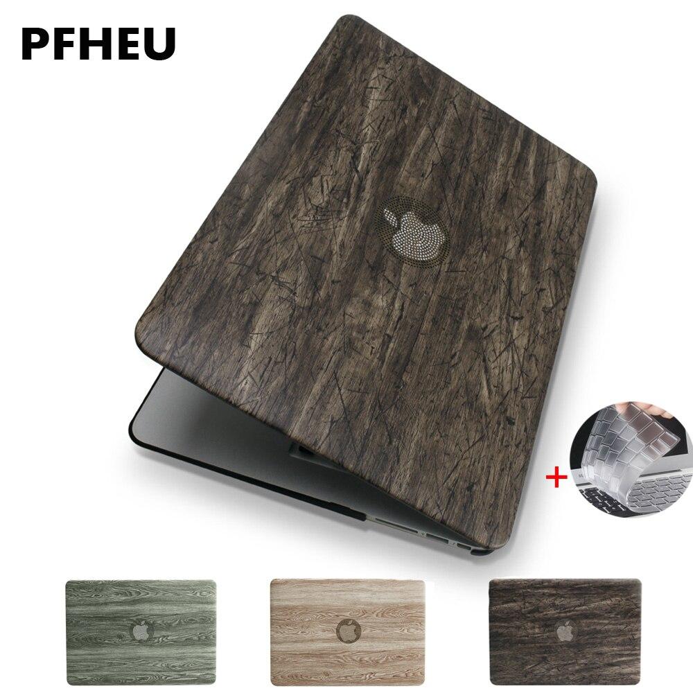 New Classical madeira grão superior do couro do PLUTÔNIO para o Ar MacBook Pro Retina 11 12 13 15 polegada Barra de Toque + tampa do teclado