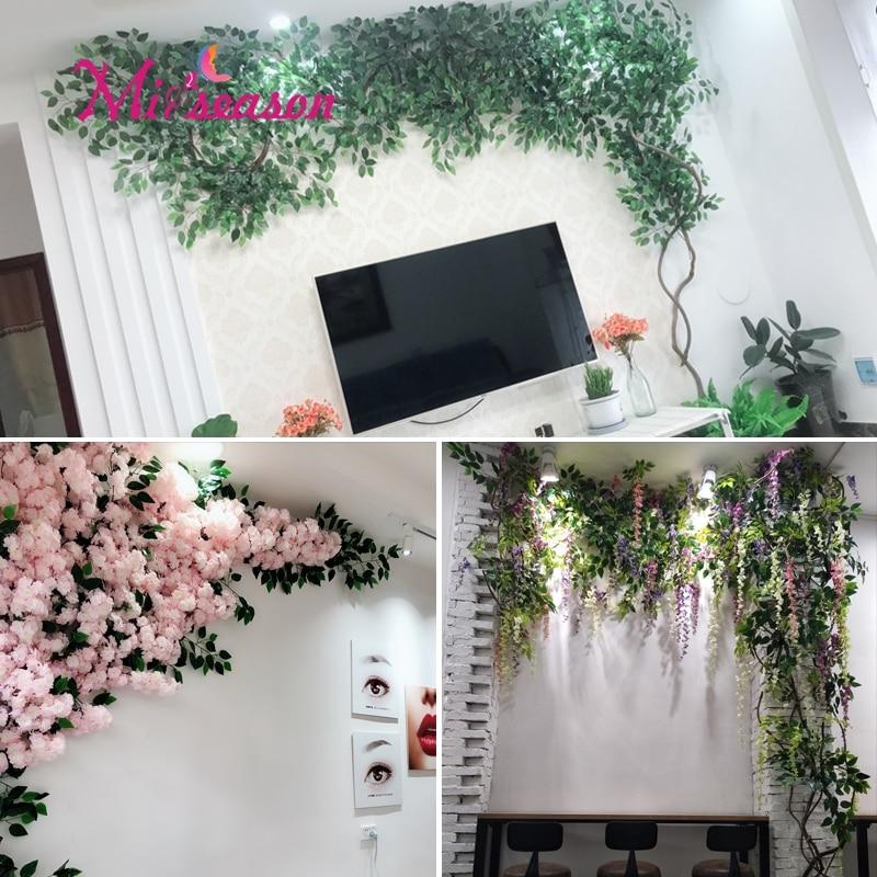 1 Juego de hojas verdes de eucaliptus para paisajismo, paredes de sala de estar, falso árbol de flores, decoración de plantas de ratán para la tienda en casa - 5