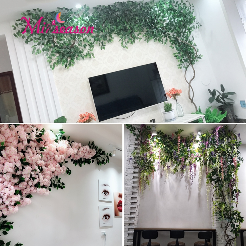 1 conjunto verde eucalipto folhas paisagismo interior sala de estar parede falso flor árvore rattan videira planta decoração para casa loja - 5