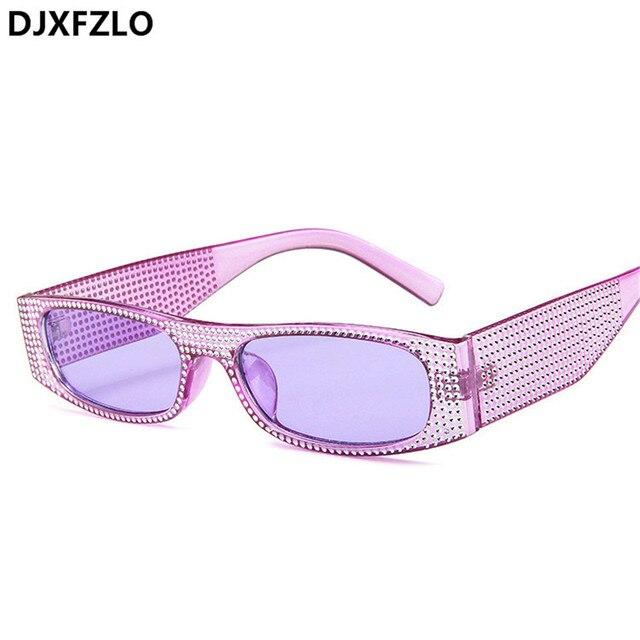 DJXFZLO Small square fashion sunglasses Retro evening glasses cross-border hot sunglasses women brand designer blue sea UV400 2