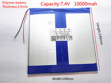 35X140X140mm 7.4V 10000mAh Rechargeable li Polymer Li-ion Battery For Power Bank Tablet PC Cell Speaker MID electronics 35140140