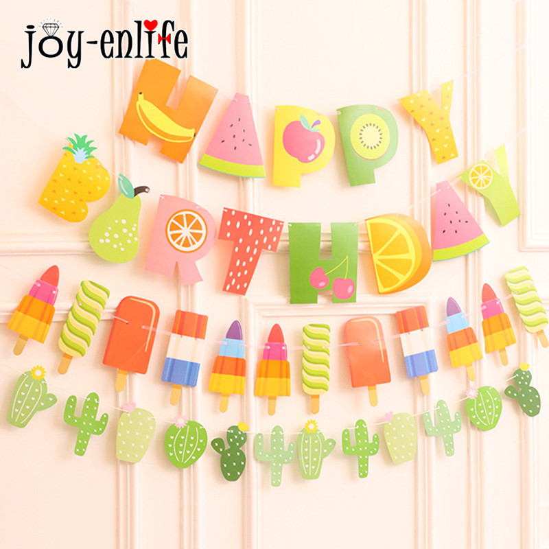 JOY-ENLIFE HAPPY BIRTHDAY Banner Bunting Fabrics Cactus Fruit Popsicle Garland Banner Baby Shower Birthday Party Decoration