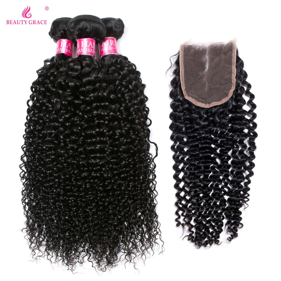 Beauty Grace Bundles With Closure Kinky Curly Human Hair 3 Bundles With Closure Non Remy Malaysian