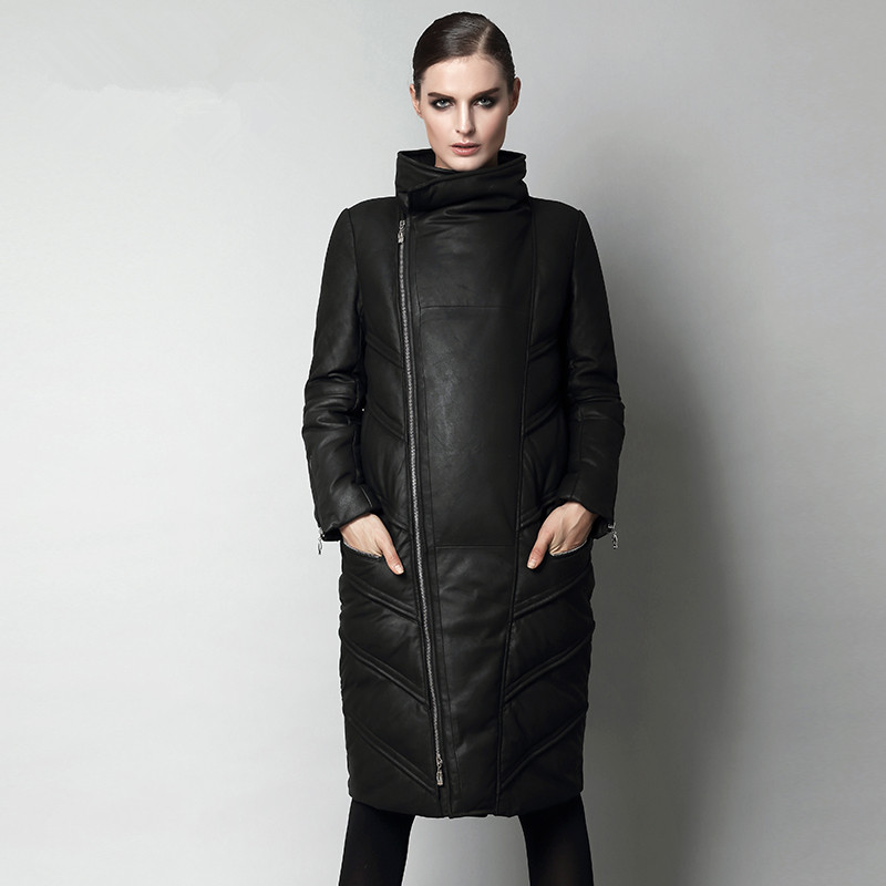 Winter Women Warm Medium-long   Coat   Stand Collar Thickening Outerwear Female Genuine Sheepskin   Down     Coat   S-2XL