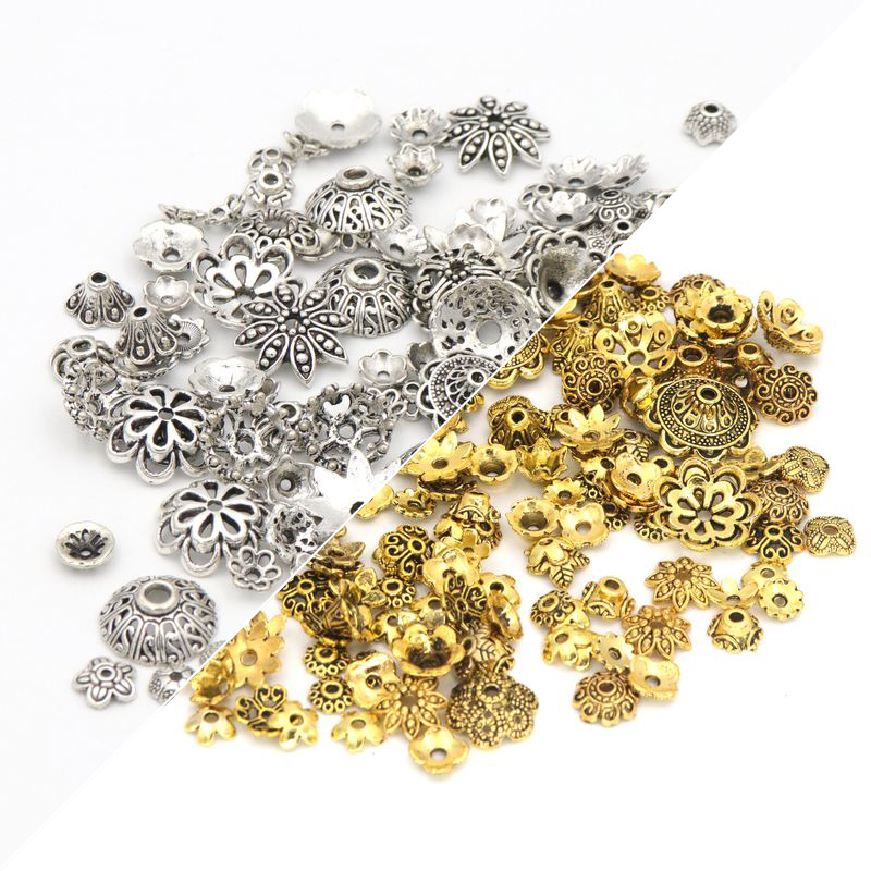 150pcs Mixed Tibetan Antique Silver Color Flower Bead End Caps For Jewelry Making Findings