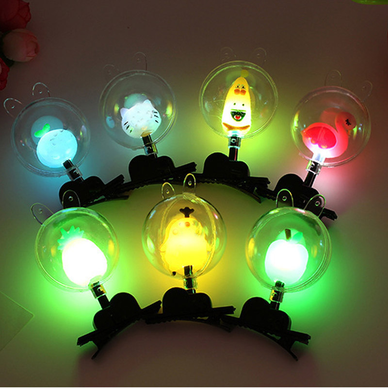 Luminous Wave Ball Hairpin Flash Gifts LED Cartoon Lights Glow In The Dark LED Shining Kids Playing In Night Party Toys For Chil