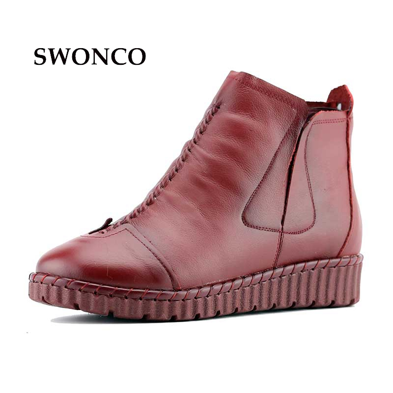 Women's Boots Ankle Boot Genuine Leather Handmade Women Shoes Ladies Boot Winter Ankle Boots Warming Plus Size Retro Shoes women ankle boots handmade genuine leather woman boots autumn winter round toe soft comfotable retro boot shoes female footwear