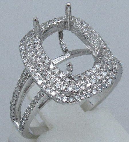 Cushion Cut 8X10mm 14k White Gold & 0.66ct Diamond Semi Mount Ring Setting