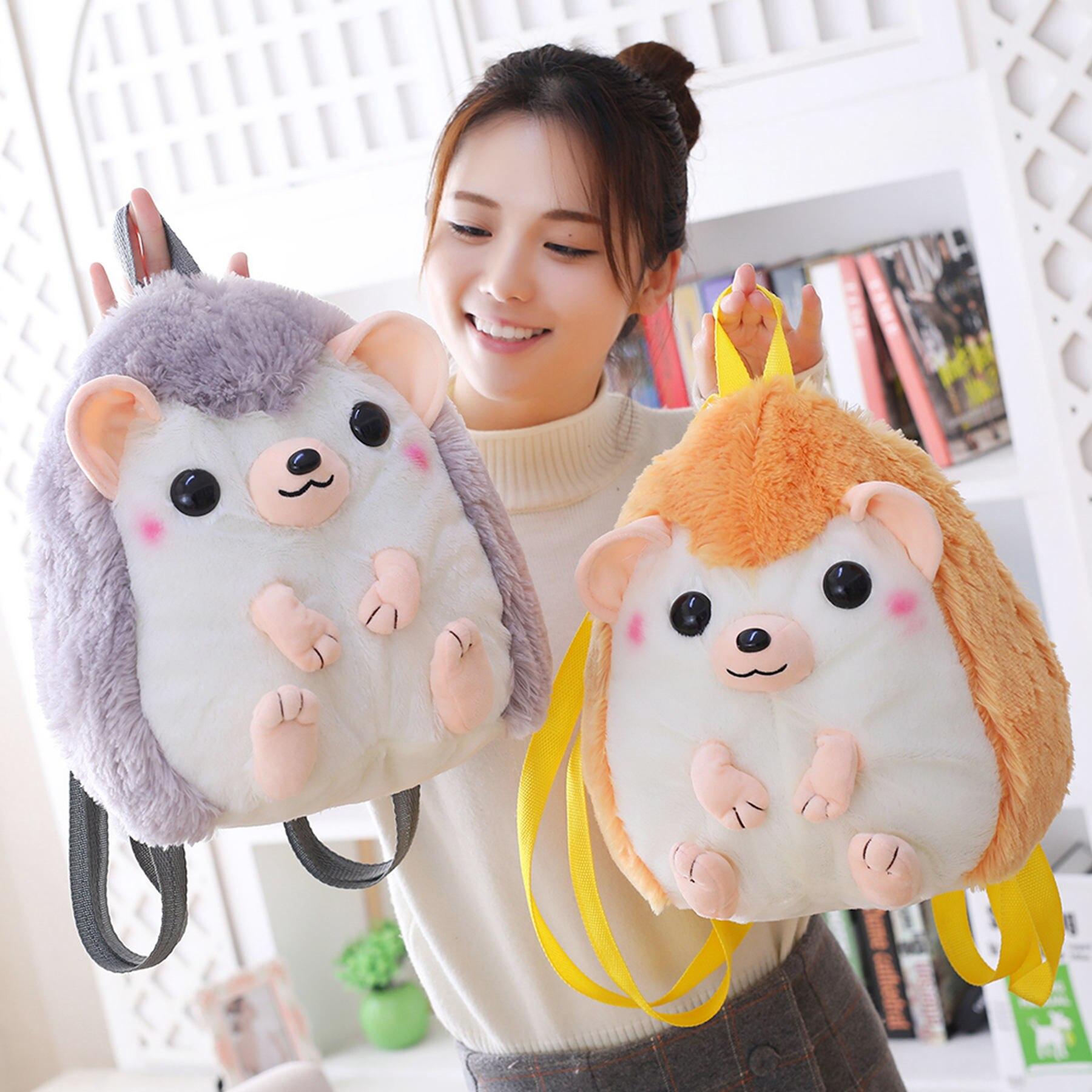 Kawaii Plush Bookback Stuffed Animal Hedgehog Backpacks Toys Knapsack For Kids Cartoon Animal Plushie Bags For Girl Kids
