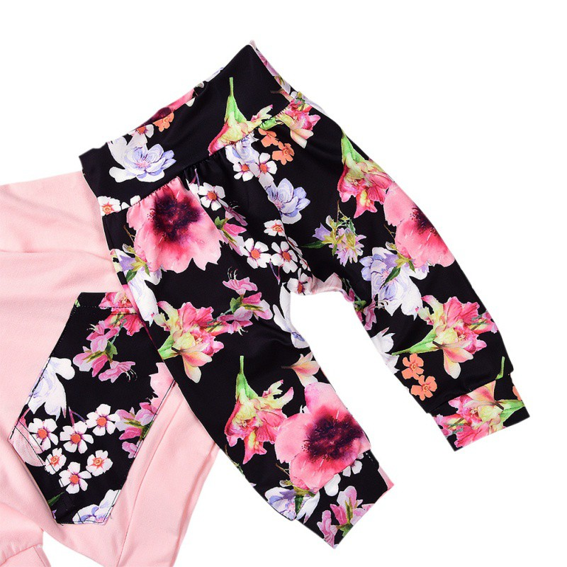 d7bbcae04 Winter Baby Girls Clothes Printed Floral Girls Pant Sets Newborn ...