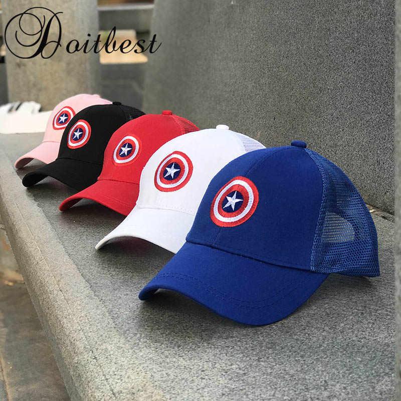 f2634d1ae871c0 2018 Children Mesh Child Baseball Cap Hot Summer Captain America kids Sun Hat  Boys Girls snapback