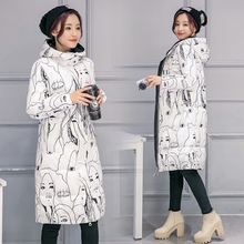 Fashion Winter Women Long Coat Thicken Down Cotton Winter Jacket Warm Woman Coat Hooded Printed For