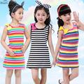 2017 Hot Sale 3 4 5 7 8 10 11 12 15 Years Girls Stripe sleeveless Rainbow Cotton Brand Summer Girl Dress Tutu Dresses For Girls