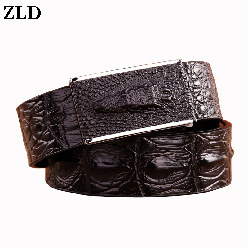 ZLD 2018 New Crocodile Designer Smooth Buckle Cow Genuine  Leather Luxury Vintage Belt High Quality Cowboys Waist Jeans Strap