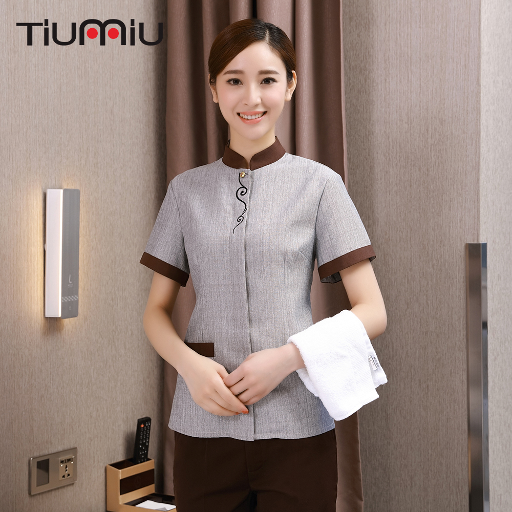 Wholesale Restaurant Hotel Cleaning Work Uniform Short Sleeve Housekeeping Cleaning Service Women Cooking Overalls Waiter Jacket