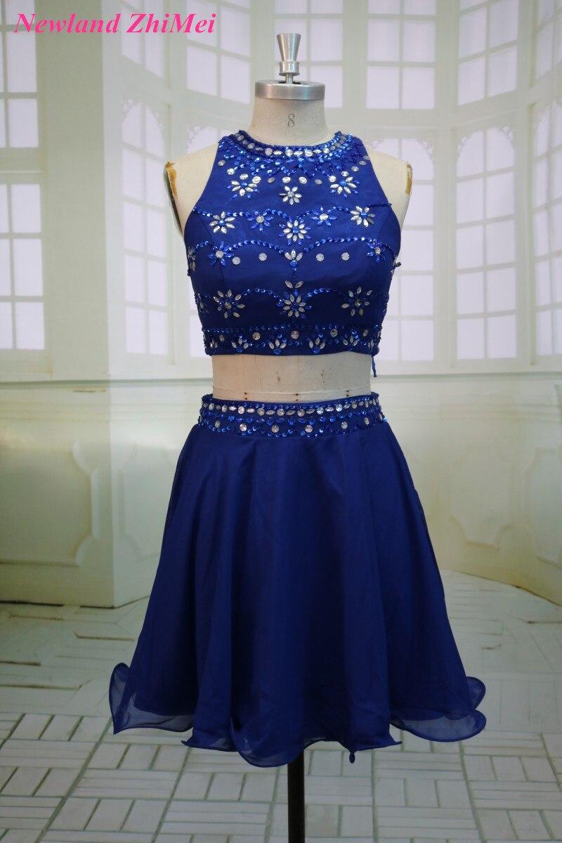Royal Blue Two Pieces Cocktail Dress Sexy Mini Beaded Chiffon Party Gown Dresses vestido de festa curto