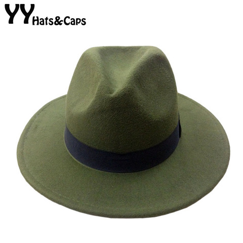 14 Colors Wool Trilby Caps For Men Women Vintage Fedoras Panama Hats With Black Ribbon los sombreros de ala de lana YY0399 Pakistan