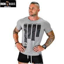 2017Brand men's t-shirt Fitness and Short sleeve t shirts Fashion Leisure Muscle Men Slim fit personality tees tops