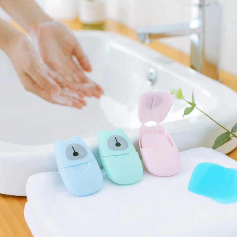 50 قطعة/صندوق السفر المتاح محاصر الصابون ورقة المحمولة غسل اليد صندوق المعطرة شريحة ورقة صابونة صغيرة ورقة