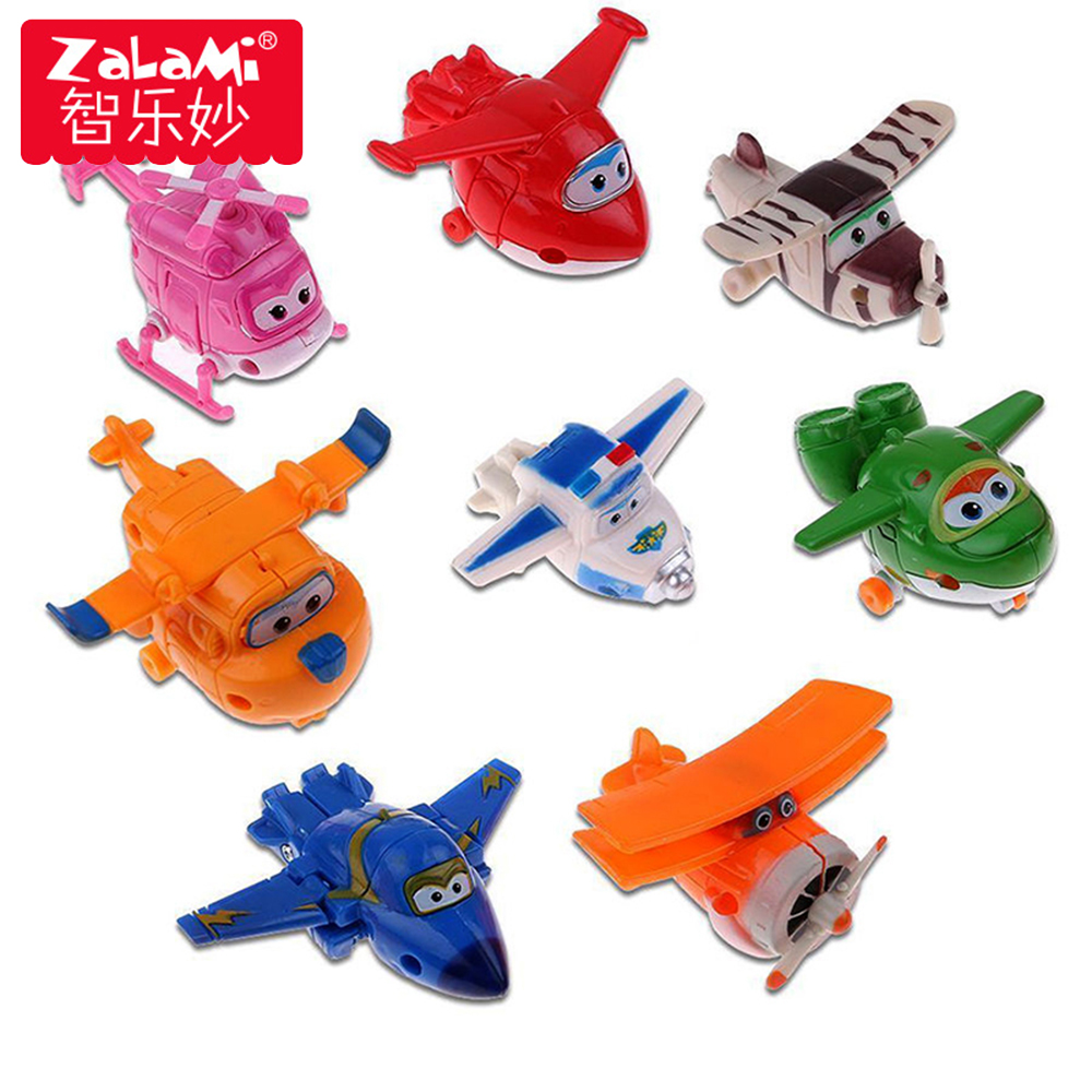 8 unids/set MINI avión Anime Super alas juguete modelo de transformación Robot figuras de acción emisón juguetes para los niños