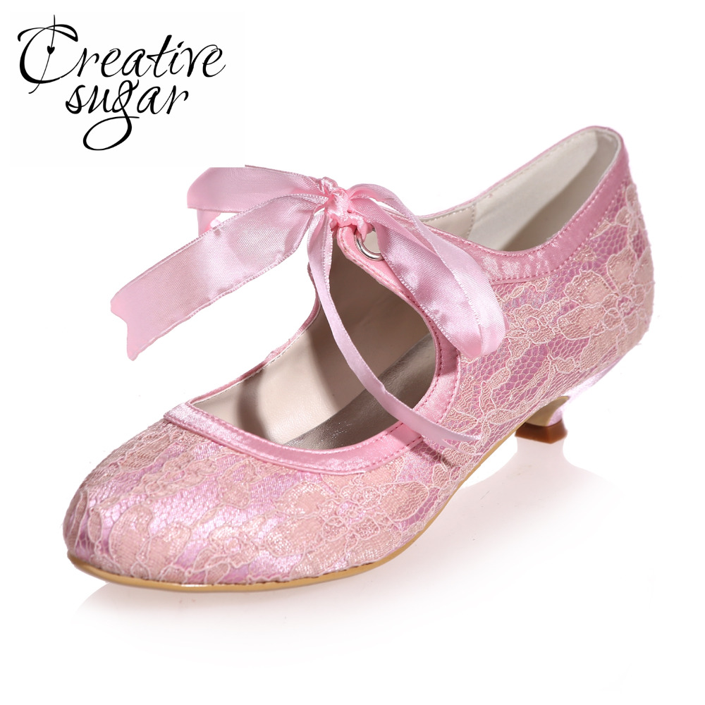 Creativesugar comfortable ribbon lace up mary jane low for Comfortable wedding dress shoes