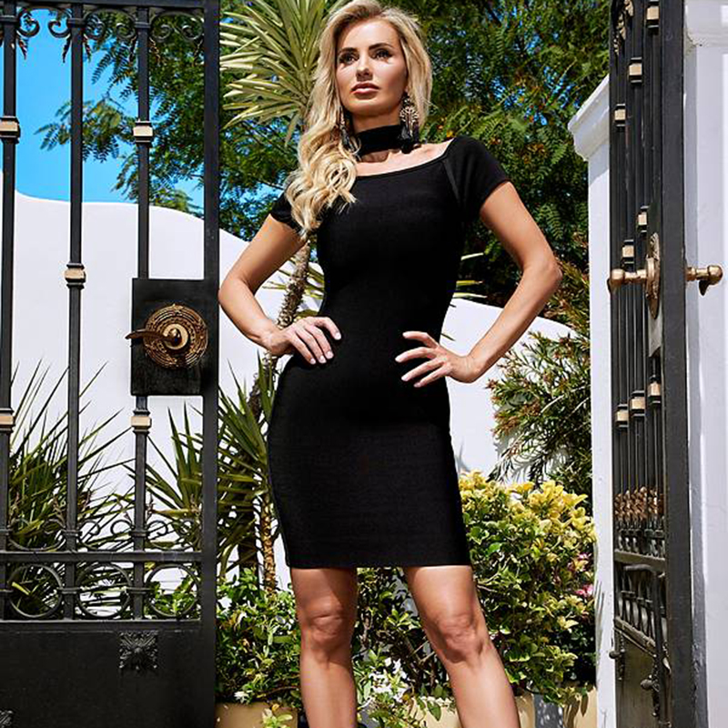 Sexy Club 2018 New Bandage Dress Off Shoulder Slash Neck Short Sleeve Evening Party Summer Women