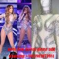 Sexy Artesanal de Cristal Rhinestone Celebridade Desgaste Desempenho de Uma Peça Bodysuit Macacão Mulheres Do Desgaste da Dança Traje Do Estágio Cantora