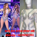 Sexy Handmade Crystal Rhinestone Celebrity Performance Wear One Piece Bodysuit Jumpsuit Dance Wear Women Singer Stage Costume