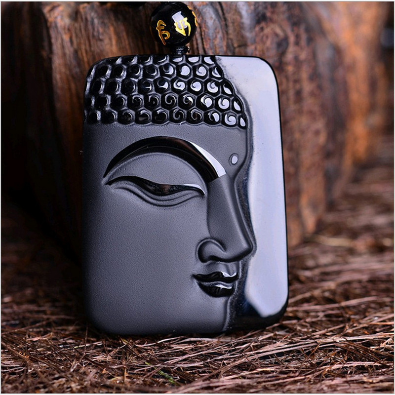 Natural Black Obsidian Hand Carved Chinese Buddha Lucky Amulet Pendant Free Necklace Fashion Fine Jewelry Energy Healing Gift