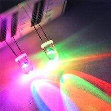 """20 יחידות LED דיודה פולטת אור 5 מ""""מ עגול RGB אור 7 צבע מנורת LED נוריות סופר מבריקות איטי/מהיר מהבהב שינוי מהבהב F5"""