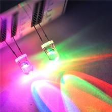 Diodo emisor de luz LED 20 piezas, 5MM, redondo, RGB, lámpara LED de 7 colores, Super brillante, parpadeo rápido y lento, F5
