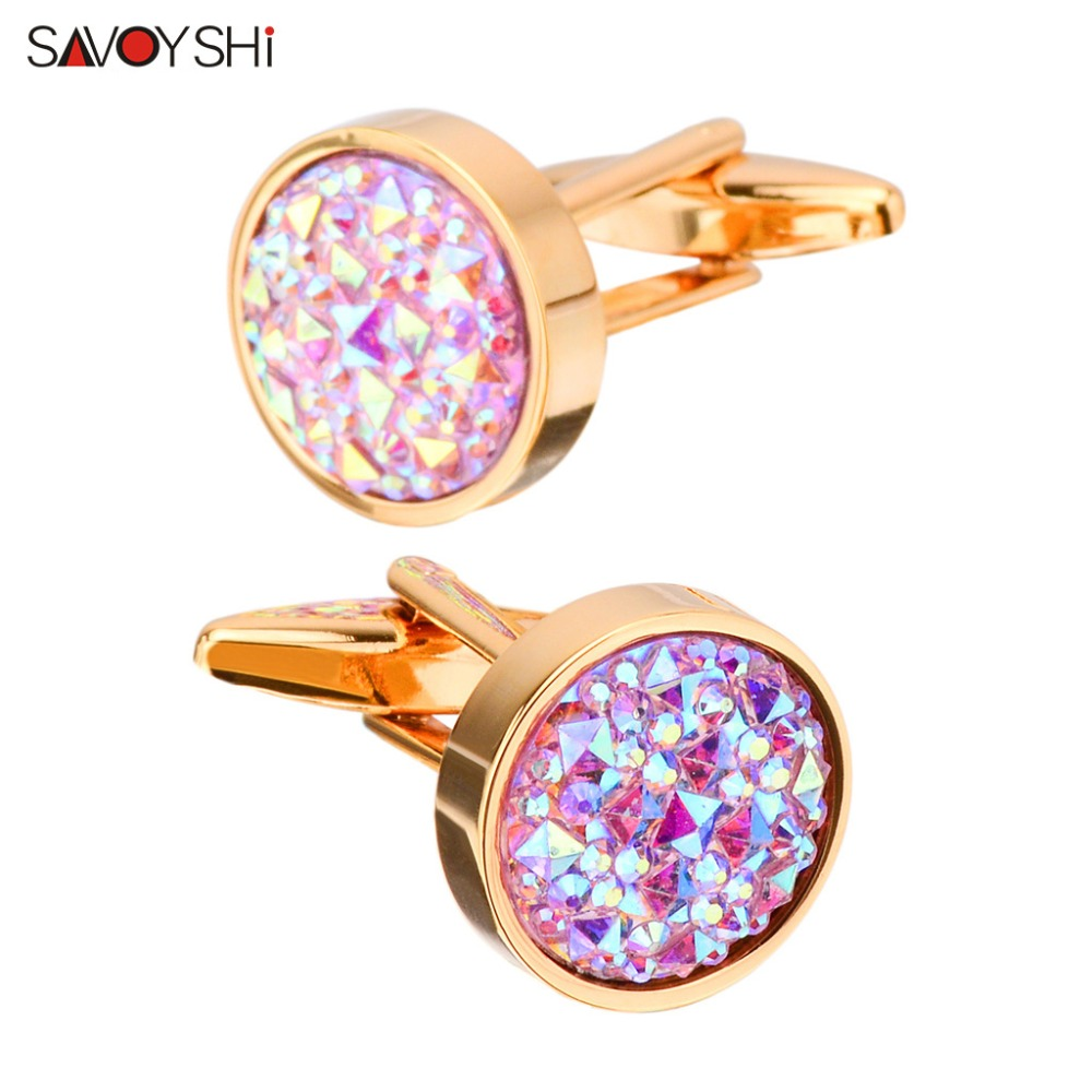 SAVOYSHI Luxury Colorful Stone Cufflinks For Mens Shirt Accessories High Quality Brand Round Cuff Buttons Wedding Gift Jewelry