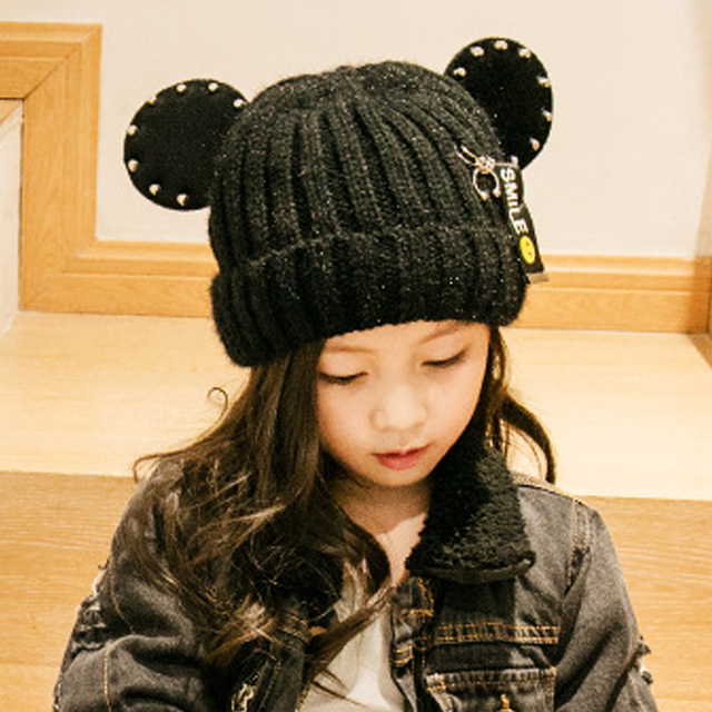 150b5d40c61 Rivet Knitted Hat Girl Cute Cartoon Cat Winter Hats For Girls Warm Thick  Caps Children Beanies