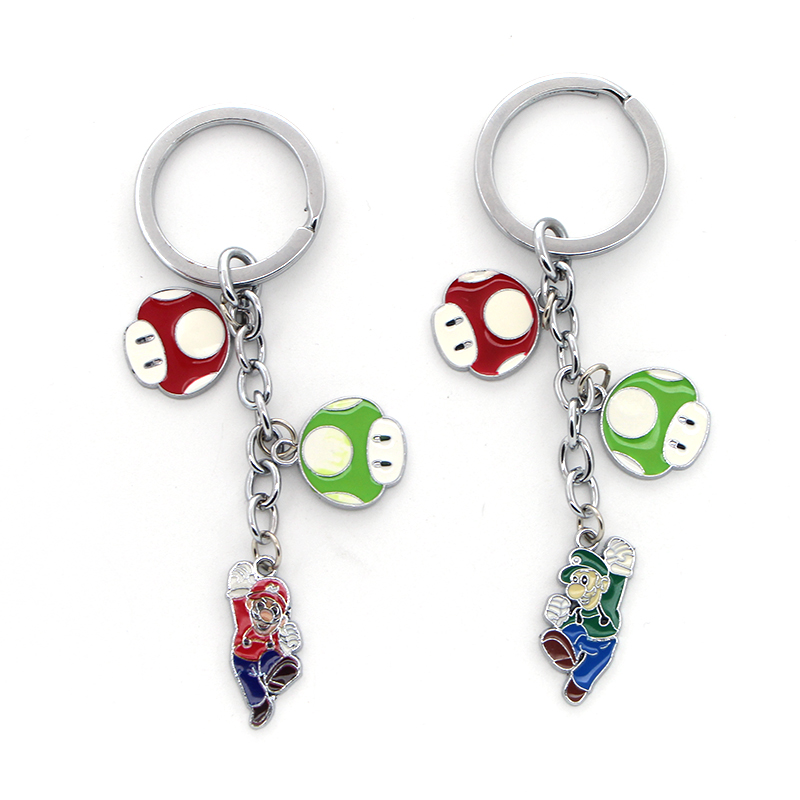 P2032 Dongmanli Classic Game Anime Keychain Super Mario Alloy Mushroom Flower Pendant Key Chain Car Key Holder Keyring
